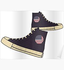 Vintage American Flag Freedom Tennis Shoes Poster