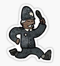 cartoon running policeman Sticker