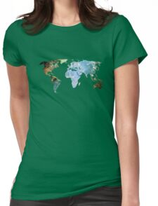 Space Continents Womens Fitted T-Shirt