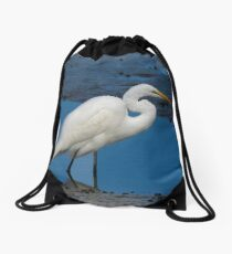 Egret Portrait Drawstring Bag