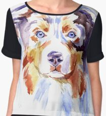 Watercolor Australian shepherd Women's Chiffon Top