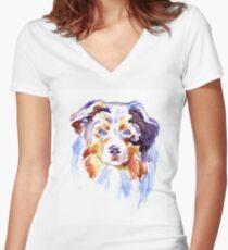 Watercolor Australian shepherd Women's Fitted V-Neck T-Shirt