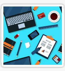 Office Seamless Pattern with Office Elements Sticker