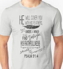 Psalm 91:4 Christian Bible Scripture Verse Unisex T-Shirt