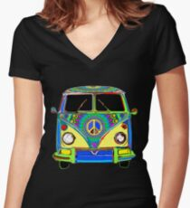 Peace Bus - Psychedelic Women's Fitted V-Neck T-Shirt