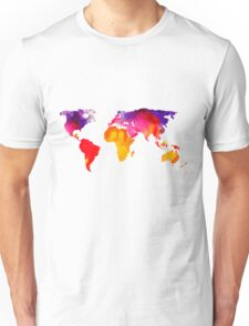 Multicolour watercolour map of the world Unisex T-Shirt