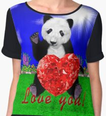 Panda loves you Women's Chiffon Top