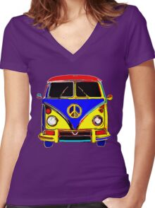 Peace Bus - Red, Yellow, and Blue Women's Fitted V-Neck T-Shirt