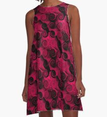Fuchsia And Black Abstract Swirls A-Line Dress