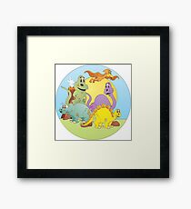 Dinosaur Friends Cartoon Framed Print