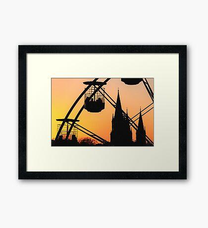 Ferris Wheel at Sunset Framed Print