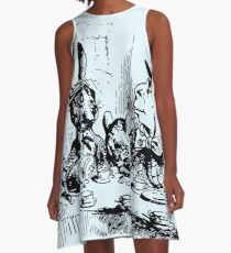 The Tea Party Alice in Wonderland By Lewis Carrol A-Line Dress