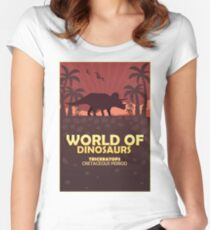 Poster World of dinosaurs. Prehistoric world. Triceratops Women's Fitted Scoop T-Shirt