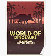 Poster World of dinosaurs. Prehistoric world. Triceratops Poster