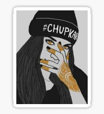 Chup Kar Beanie Girl Black and White  Sticker