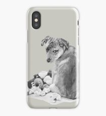Cute puppy with torn teddy dog realist art  iPhone Case/Skin