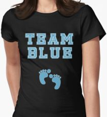 Team Blue Boy Mom Baby Shower Gender Reveal Party Cute Funny Gift Women's Fitted T-Shirt