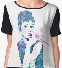 Audrey Hepburn Watercolor Pop Art  Chiffon Top