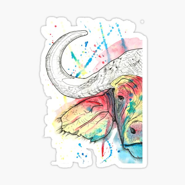 Buffalo Watercolour Sticker