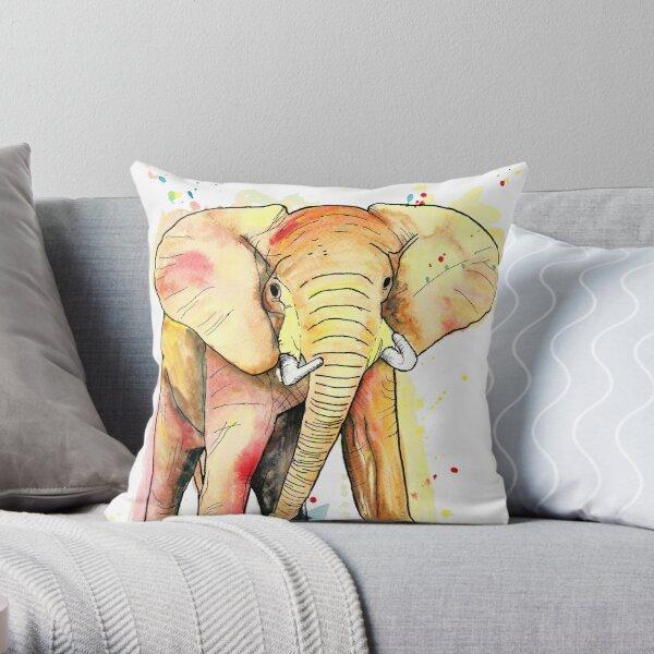 Elephant Watercolour Throw Pillow