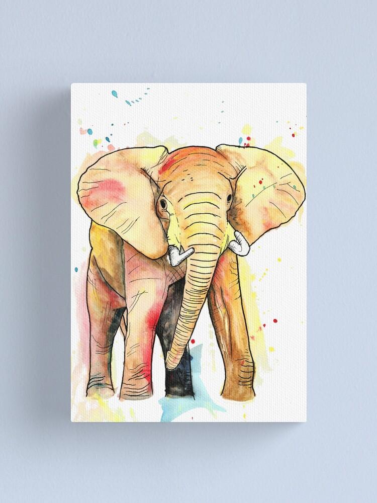 Alternate view of Elephant Watercolour Canvas Print