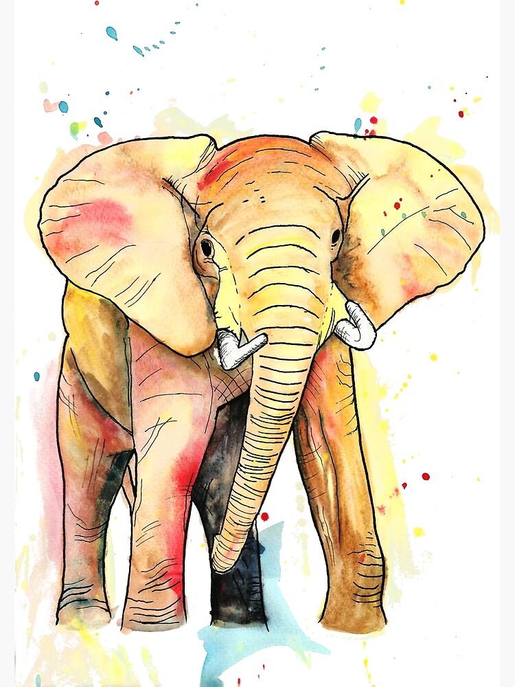Elephant Watercolour by LPDesignsAndArt