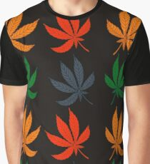 Pattern with colorful cannabis leaves Graphic T-Shirt