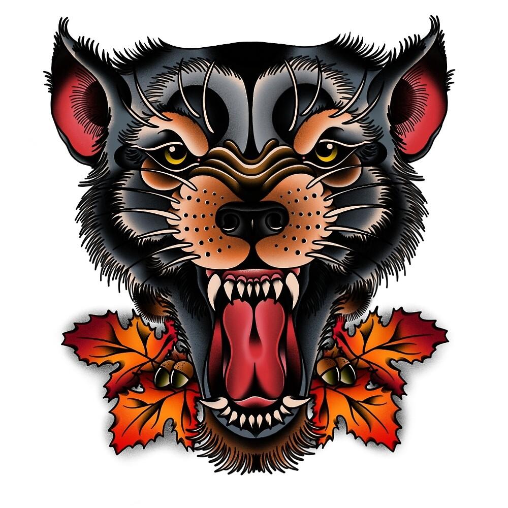 Traditional Wolf: «NUEVO TATUAJE TRADICIONAL DE LOBO» De Bauod13