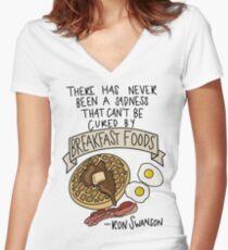 Breakfast Foods Women's Fitted V-Neck T-Shirt