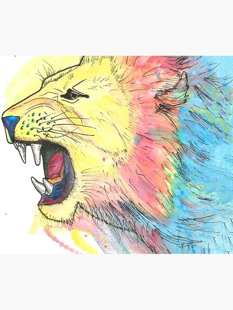 Lion Watercolour by LPDesignsAndArt