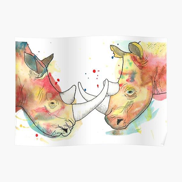 Rhino Watercolour Poster