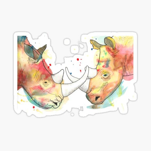 Rhino Watercolour Sticker