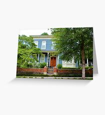 Blue And White House Greeting Card
