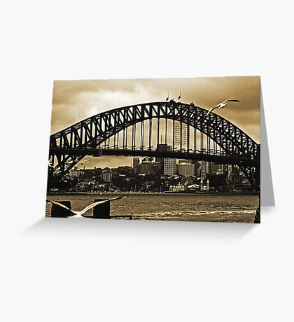 Sydney Harbour Bridge In Sepia Greeting Card