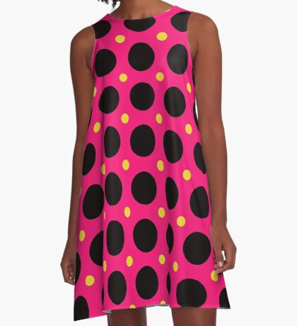 Pink and Black Polka  Dots  by Julie Everhart A-Line Dress