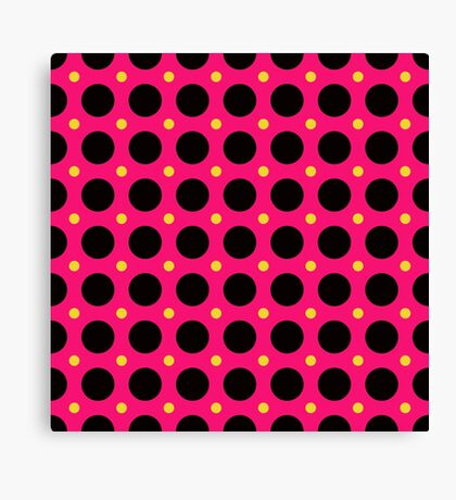 Pink and Black Polka  Dots  by Julie Everhart Canvas Print