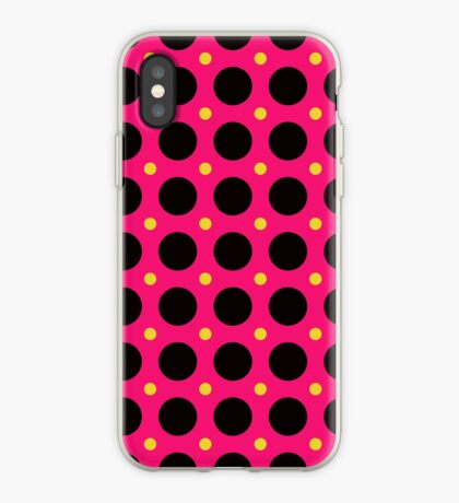 Pink and Black Polka  Dots  by Julie Everhart iPhone Case
