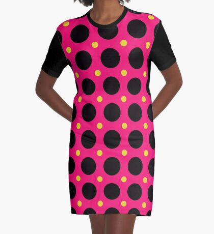 Pink and Black Polka  Dots  by Julie Everhart Graphic T-Shirt Dress