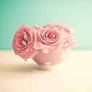 Soft Pink Roses in Polka Bowl  by Caroline Mint