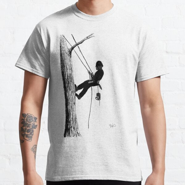 Arborist tree surgeon using chainsaw Classic T-Shirt