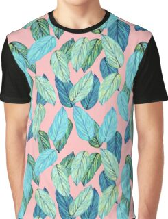 Tropical Leaves in Aqua and blue on coral Graphic T-Shirt
