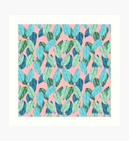 Tropical Leaves in Aqua and blue on coral Art Print
