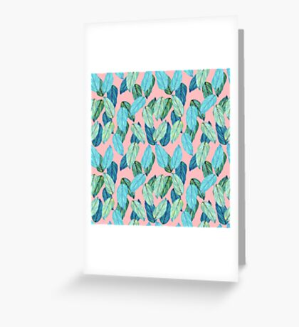 Tropical Leaves in Aqua and blue on coral Greeting Card