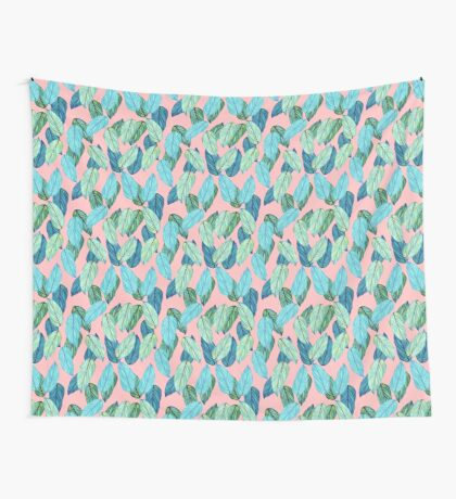 Tropical Leaves in Aqua and blue on coral Wall Tapestry