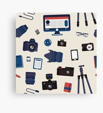 Photographer Set Seamless Pattern - Cameras, Lenses and Photo Equipment Canvas Print