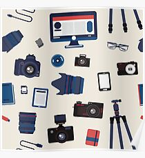 Photographer Set Seamless Pattern - Cameras, Lenses and Photo Equipment Poster