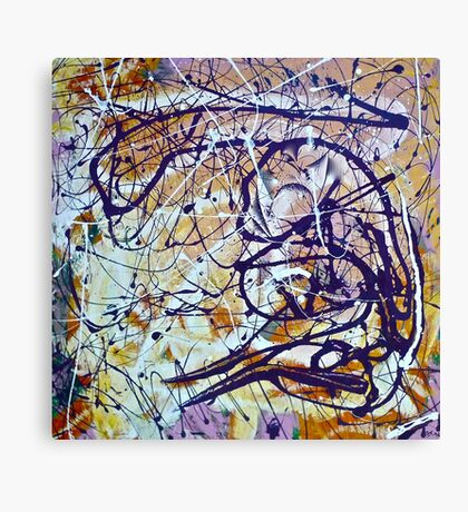 Abstract Painting, Brush & Poured Canvas Print