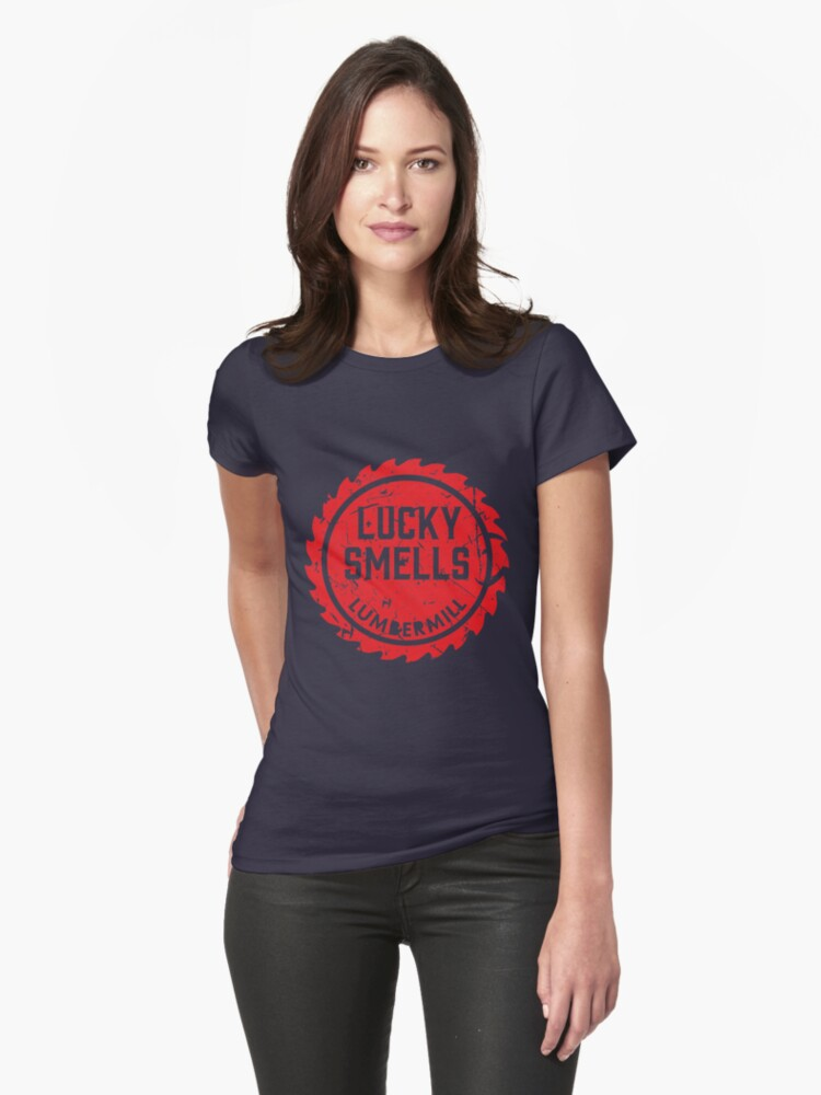Lucky Smells Lumbermill Red (A series of Unfortunate events) Womens T-Shirt Front