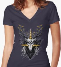 Deer Unicorn Women's Fitted V-Neck T-Shirt