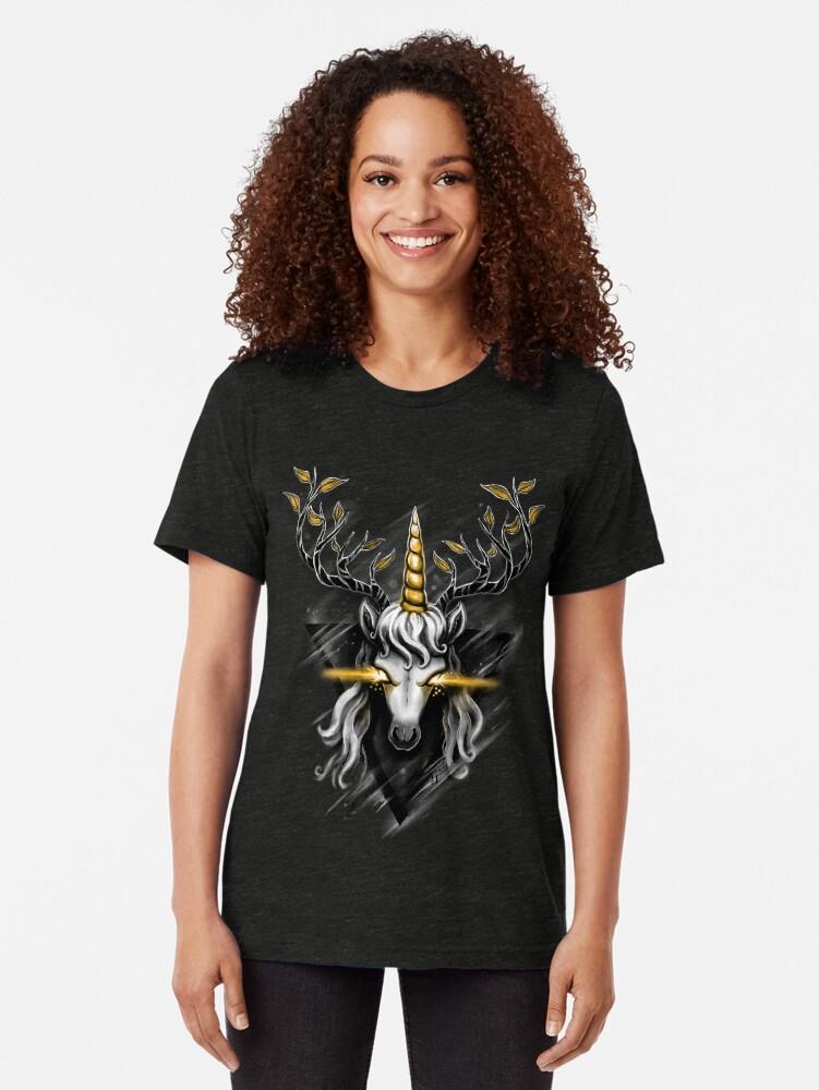 Alternate view of Deer Unicorn Tri-blend T-Shirt